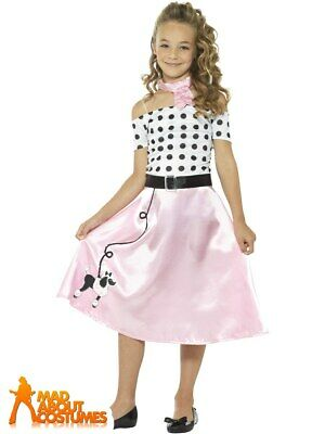Child 1950s Poodle Girl Dress Costume Rock n Roll Fancy Dress Outfit Kids