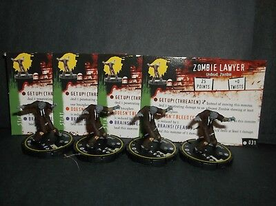 HORRORCLIX Zombie Lawyer 4 miniatures #031, Rookie, Yellow, W/Cards Base Set