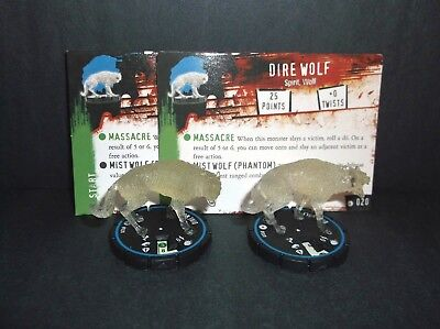 HORRORCLIX  Dire Wolf 2 miniatures #020, Experience, Blue  W/Cards Base Set