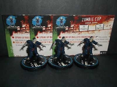 HORRORCLIX  Zombie Cop 3 miniatures #011 Experienced, Blue W/Cards Base Set