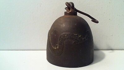 """Vintage Metal Bell With Serpent / Snake - Bell 3"""" High"""