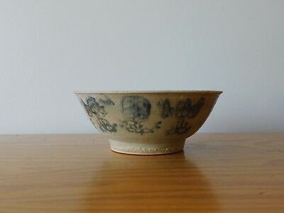 c.19th - Antique Chinese Blue and White Porcelain Tek Sing Bowl
