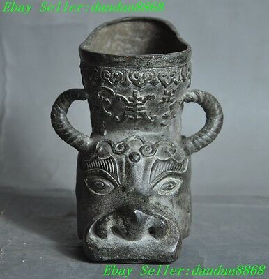 Old chinese Folk Bronze Ox bull oxen Double Dragon longevity statue Cup Pot Vase