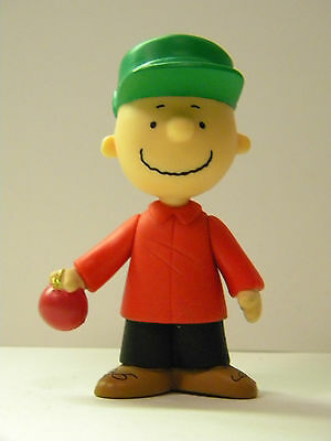 "Charlie Brown Figurine New Peanuts Heavy Plastic Toy Holding Apple 3.5"" x 1.5"""