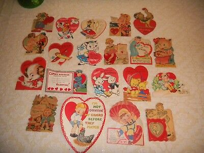 Vintage Valentine's Day Cards Lot of 20 School trades Early 1950'S-60'S Crafts