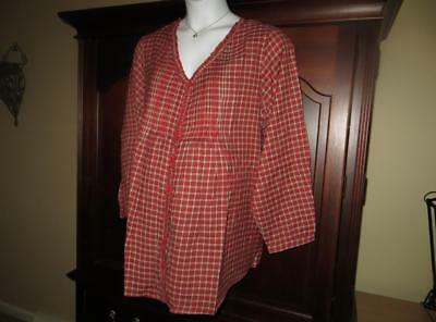 Maternity Tunic Top 3x Plus Size Pintuck Plaid Blouse Buttons NWT New