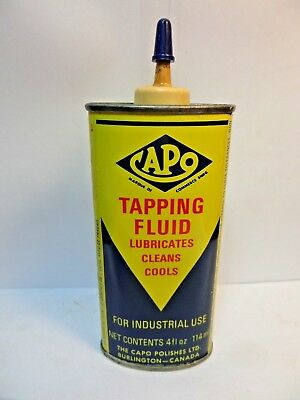 #4 VINTAGE VERY RARE 1950's CAPO TAPPING FLUID OIL TIN CAN HANDY OILER CANADIAN