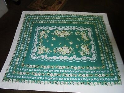 Lovely Lg Vintage Dainty Florals Tablecloth  Greens Very Nice