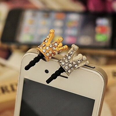 3.5mm Crystal Crown Dust Earphone Jack Plug Dust Proof Cap For Cellphone Mobile