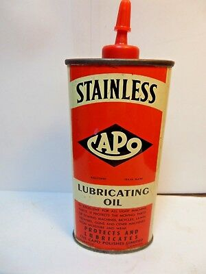 #7 VINTAGE VERY RARE 1950's CAPO STAINLESS LUBRICATING OIL TIN CAN HANDY OILER