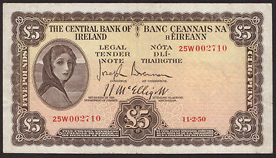 Central Bank of Ireland Five Pounds 1950. Very Fine