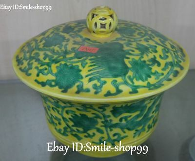 Rare China Yellow Glazed Green Porcelain Phoenix Feng Bird Pot Cup Bowl Statue