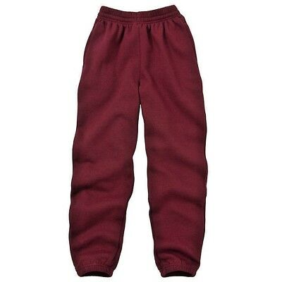 Boys Girls Kids School PE Fleece Jogging Track Bottoms Trousers,  COLOUR  maroon