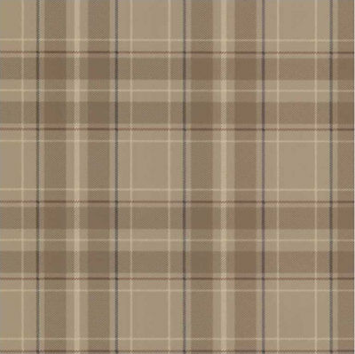 Exclusive Wallcoverings Paste The Wall Wallpaper Plaid Chequered Tan & Brown