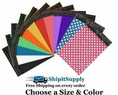 Choose Black Blue Green Orange Pink Purple Red White Yellow Colored Poly Mailers