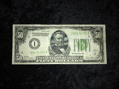 """$50 1928A Minneapolis  Dark Green Seal  """"redeemable In Gold""""  Fr 2101"""