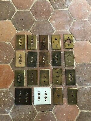 Antique Vtg Brass Cover Plate Push Button Round Outlet Electric Switch Brass lot