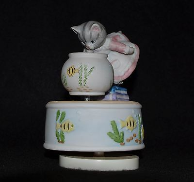 Kitty Cucumber With Fish Bowl- Music Box Base And Fish Bowl Rotate -1988-Schmid