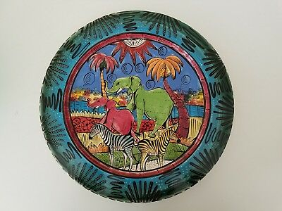 "Genuine Penzo 12.5"" plate, hand made, painted in 2006 from Zimbabwe Africa"