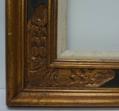 """Mid Century Mexican Bronze Gilt Hand Carved Wood Picture Frame fits 16"""" x 12"""""""