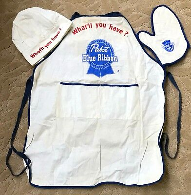 Vintage Pabst Blue Ribbon Barbecue Apron, Hat and Glove