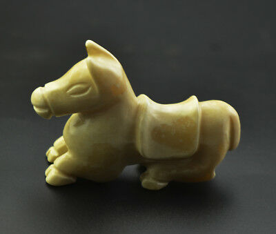 Fine China Ancient Nephrite Jade Carved Horse Statue 2.75""