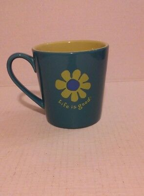 Life Is Good Home Mug Coffee Tea Mug Flower Heavy EUC