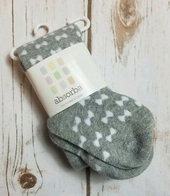 Absorba Gray & White Bow Baby Girl Tights Size 2-4 NEW