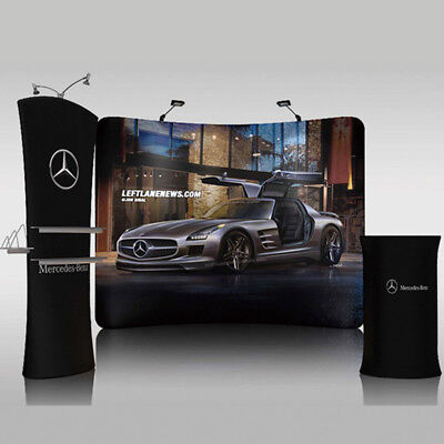 10ft Portable Curved Trade Show Display Backdrop Wall Stand Banner Booth #12