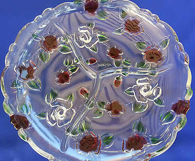 "Platter Relis Mikasa Celebrations Rose Garden Crystal Divided 10"" New Free Ship"