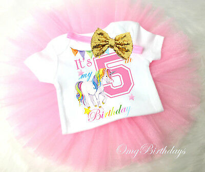 Rainbow Unicorn Pink Gold 5th Fifth Birthday Girl Tutu Outfit Shirt Set Sq