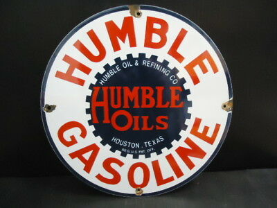 Vintage Humble Gasoline Porcelain Enamel Gas Pump Sign Used Houston, Tx