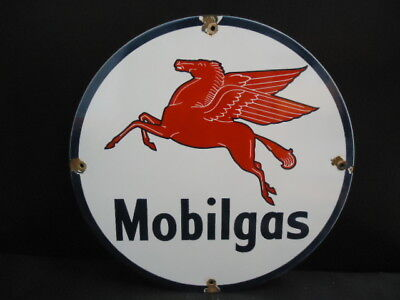 Old Vintage Mobilgas Porcelain Enamel Gas Pump Station Sign