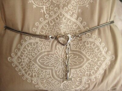 "BRIGHTON Silver-plated BELT 35""-39"" with Heart-Shaped Buckle"