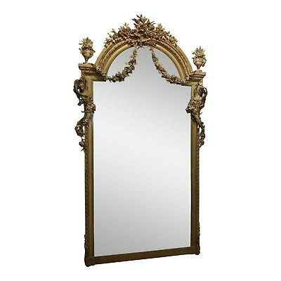 19th century Monumental Louis XVI carved Gilt Mirror w/Beautiful Nude Nymphs