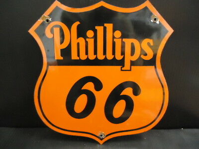 Old Vintage Phillips 66 Gasoline Porcelain Enamel Gas Pump Station Sign