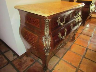 Antique 20th Century Bombay Chests Marquetry & Marble Top