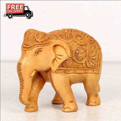 Elephant Figurine Vintage Look Statue Hand Carved  Fine Art Engraved 7960
