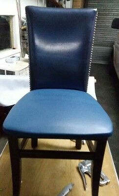 57 Wood Chair With Blue Fabric Cover / Wholesale Restaurant Furniture