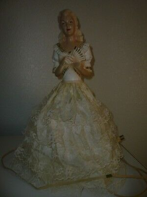"Vintage 1950's Princess Chalkware Doll Lamp - Lace Dress-15"" inches Tall"