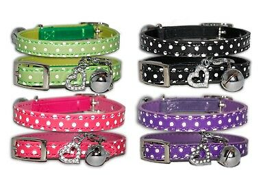 Cat Collars Diamante With Elastic Safety Belt and Bell Pet Collar Spotty Pink UK