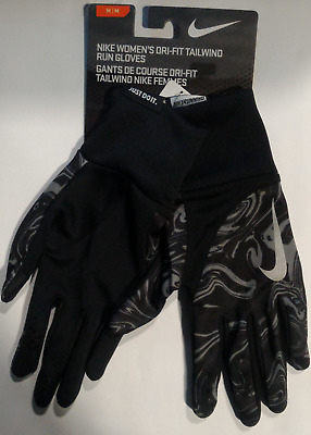 Nike Running Gloves Dri Fit Tailwind Touchscreen Grey Women Grip Breathable