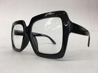 HUGE OVERSIZE 70s VINTAGE Style Clear Lens EYE GLASSES Thick Black Square Frame