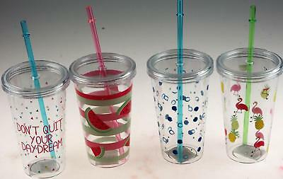 Set Of 4 Plastic Transparent Drinking Tumbler Cups With Lid And Straw