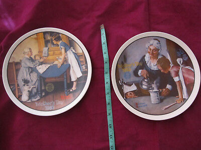 Lot of two Mother's Day plates, 1982 &1983, Knowles , Norman Rockwell