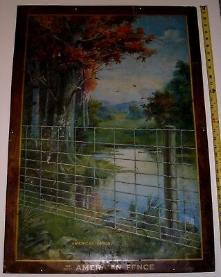 American Fence & Wire Company Tin Shonk Litho Advertising Sign 1910 New Jersey
