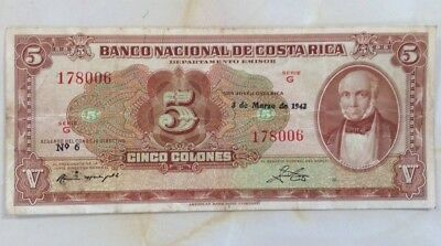1943 Costa Rica Banknote 5 Colones Pick 209a and free shipping