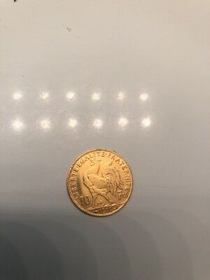 1910 French 20 Franc Gold Rooster Coin - France