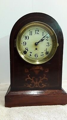 Antique Seth Thomas Inlaid  beehive mantle clock with key