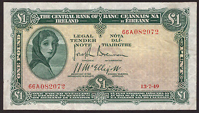 Central Bank of Ireland One Pound 1949. Crisp Very Fine